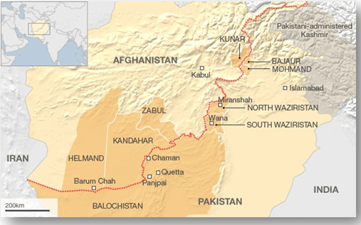 Существует район на границе Афганистана и Пакистана