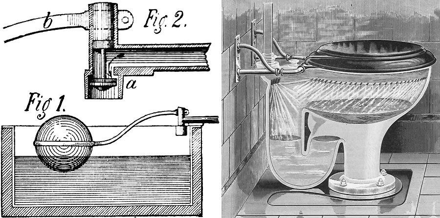 Изобретение смывного туалета