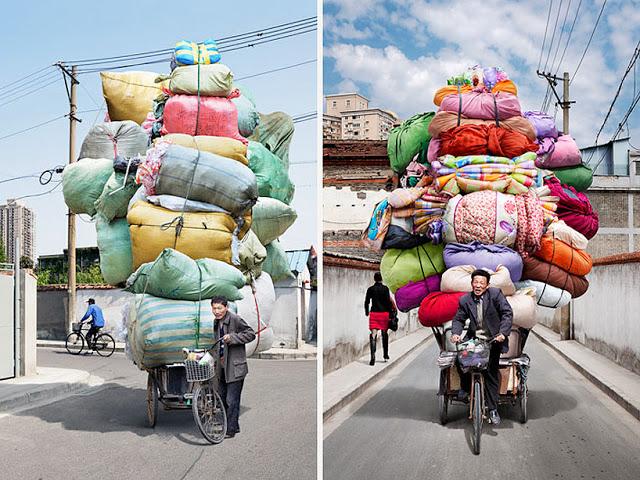 Перегруженные велосипеды в Китае