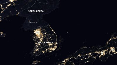 КНДР вид со спутника