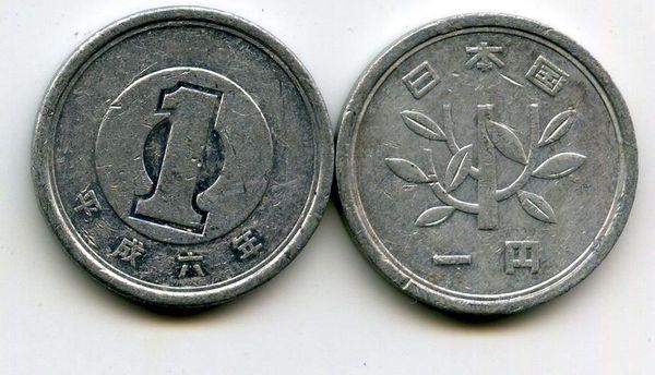 Японская монета в 1 йену