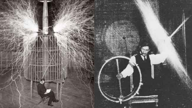 Тесла использовал катушку Теслы для передачи электричества через себя