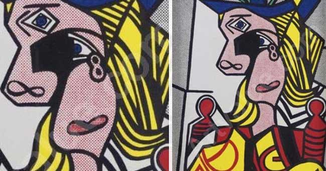 """картина Лихтенштейна - """"Женщина в цветастой шляпе"""""""