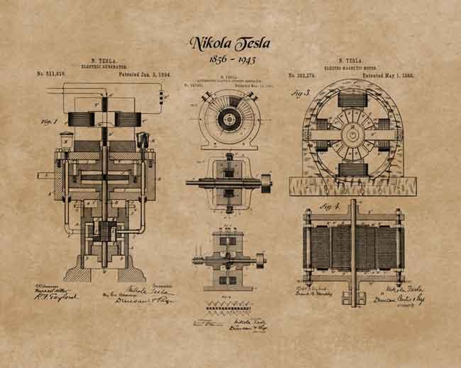 Никола Тесла имел около 300 патентов
