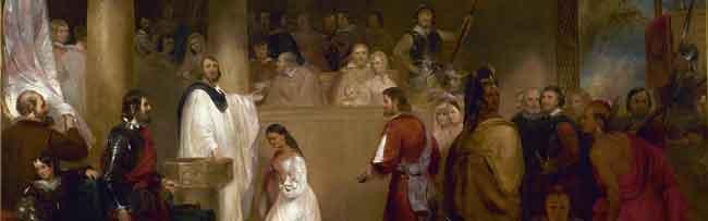 Покахонтас принимает хрестианство